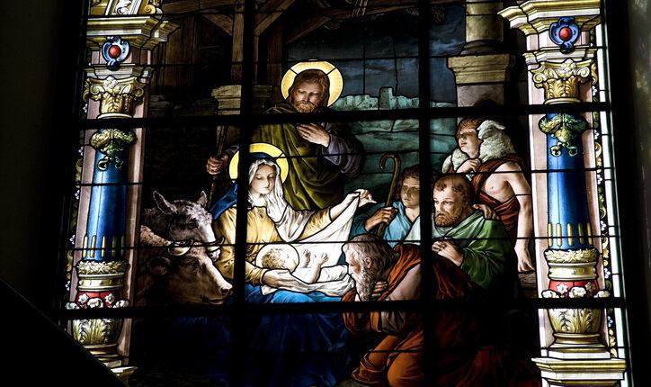 Nativity scene on stained glass window