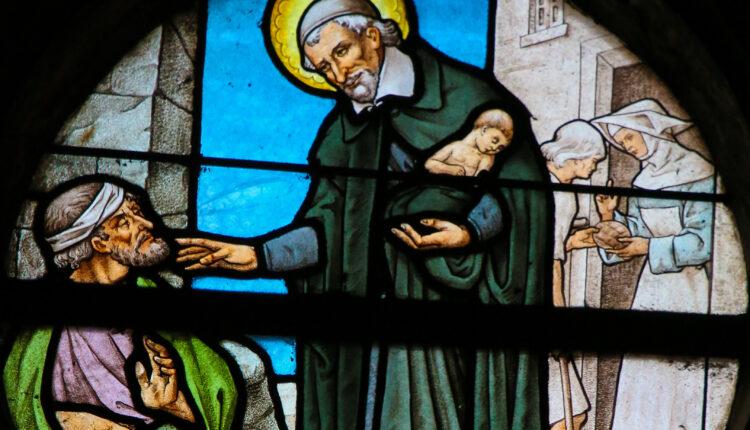Saint Vincent de Paul on a Stained Glass in Paris