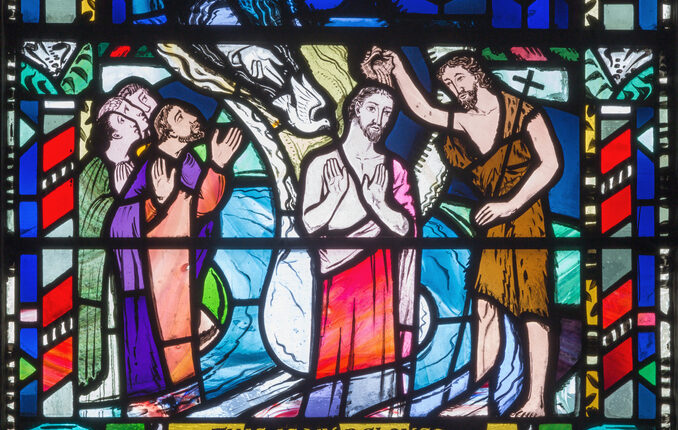 London – The Baptism of Jesus scene on the stained glass in church St Etheldreda by Charles Blakeman (1953 – 1953).