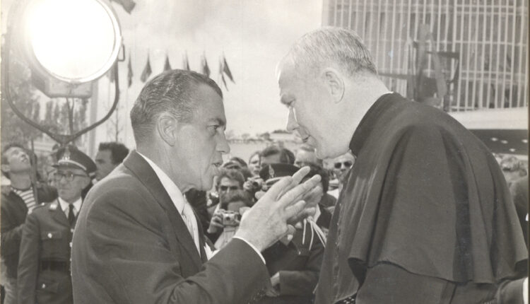 Ed Sullivan and Father Patrick Peyton, C.S.C. at Brussels World's Fair, 1958