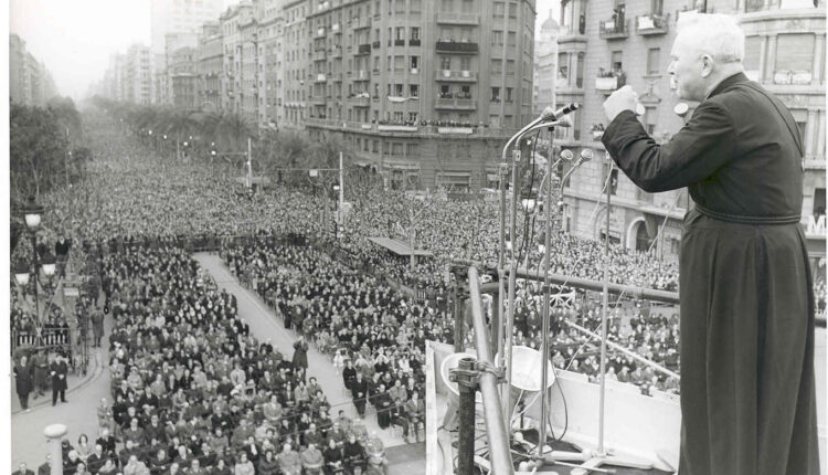 Fr. Patrick Peyton, CSC speaking at a rally in Barcelona, Spain in 1965
