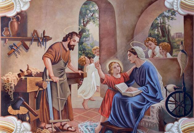 Sebechleby – Holy Family fresco, St. Joseph