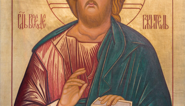 London – The icon Jesus Christ the Teacher in church St. Andrew Holborn made in Fraternity of Jesus in Vallechiara (2009).
